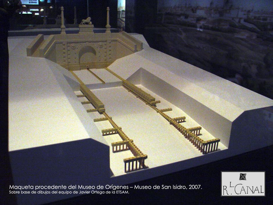 Maqueta de la exposición de hallazgos arqueológicos en las obras de la M-30. Otoño 2007.