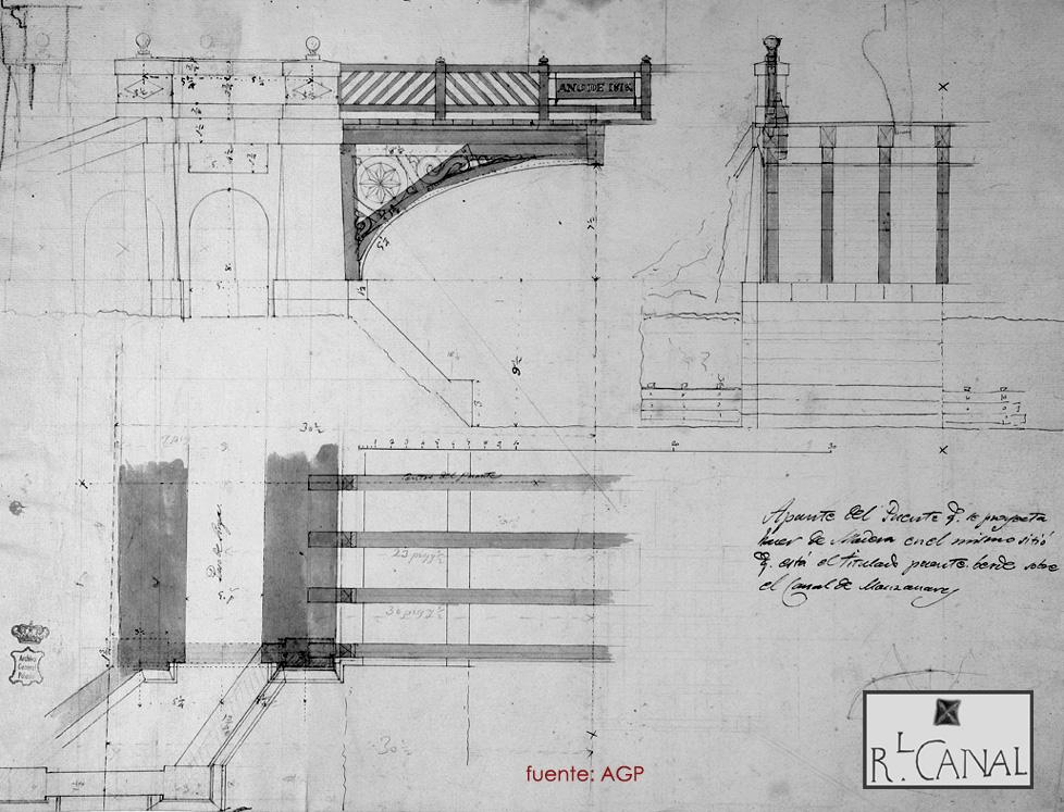 Puente de Santa Isabel. Plano original de Isidro González Velázquez.. 1818.