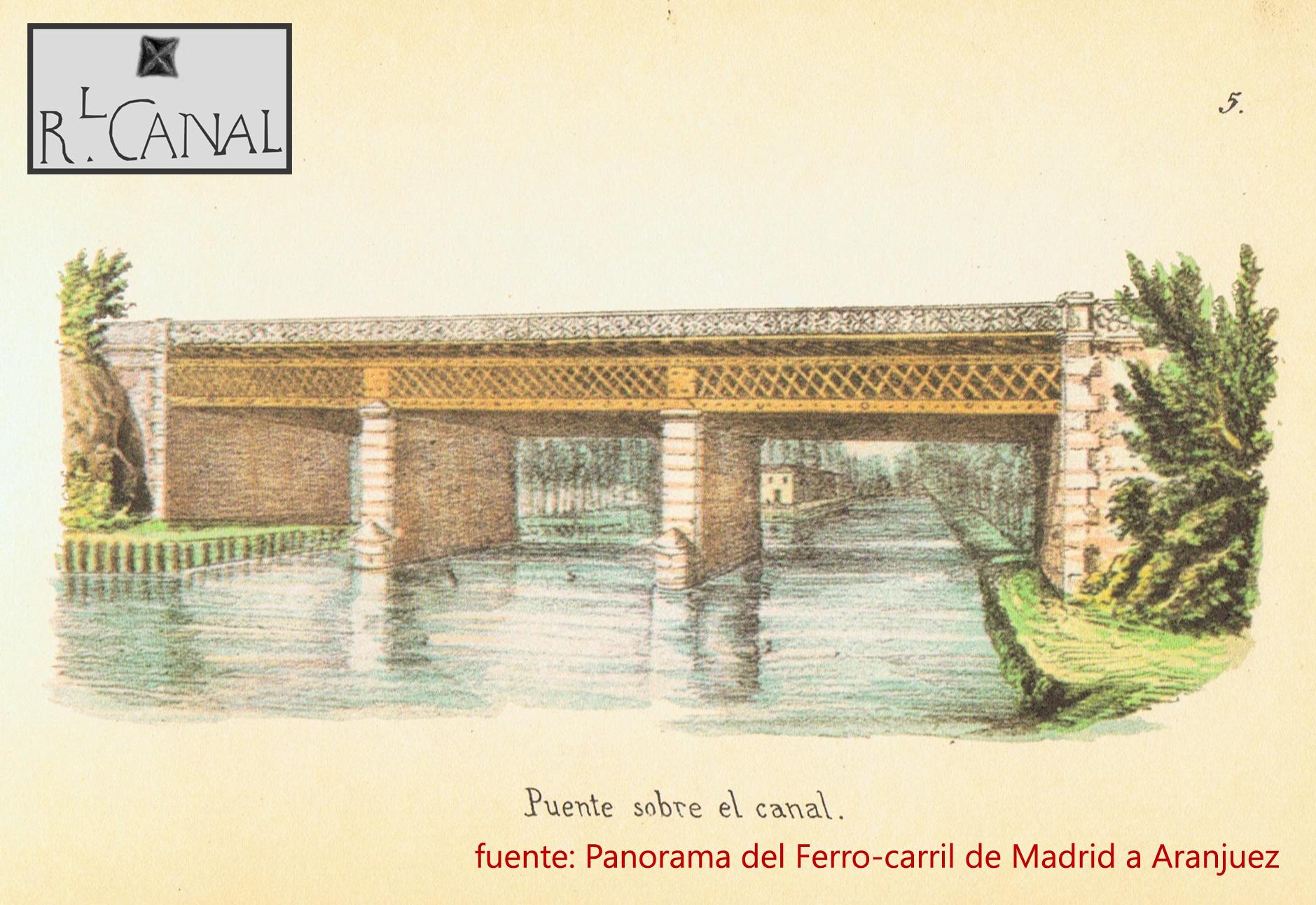 Grabado del puente sobre el Canal del ferrocarril de Madrid a Aranjuez